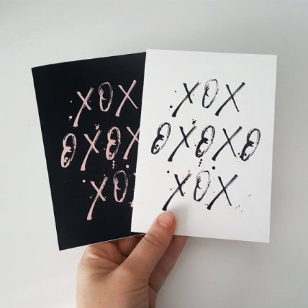 Hugs & Kisses Card (Black on White)