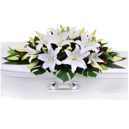 Casket Cover - White Lilys
