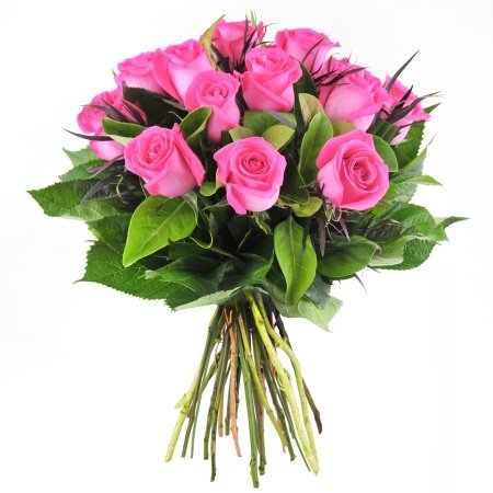 Bouquet of 12 Hot Pink Roses